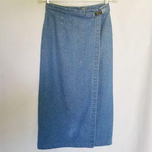 Talbots Faux Wrap Medium Wash Denim Midi Skirt